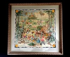 Vintage Advent Calendar Framed Under Glass Signed