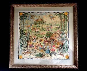 Vintage Advent Calendar Framed Under Glass Signed