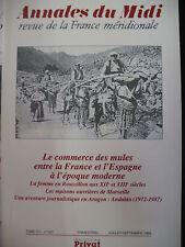 ANNALES DU MIDI 1999 No 227 COMMERCE DES MULES PYRENEES ESPAGNE ADALAN ARAGON