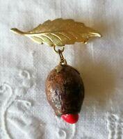 Unusual Vintage Leaf Nut Tassel Gold Tone Bar Brooch