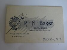 Vintage Business Card R.H. Baker Diamonds Watches Jewelry Madison, NY