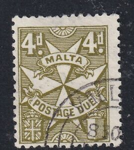 1925 Malta 4d yellow olive Postage Due  SGD31 - fine used