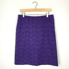 Monsoon Purple Pencil Skirt Cotton Embroidered Floral Women's UK 12 US 8/10