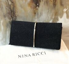 Nina Ricci Black Crystal Effect Arc Clutch Bag