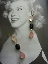 vintage egyptian revival antique black pink clear glass scarab earrings