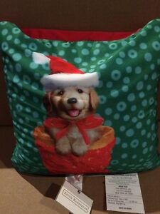 """Christmas Puppy Pillow 16 X 16"""" Size New With Tag By Keith KIMBERLIN"""