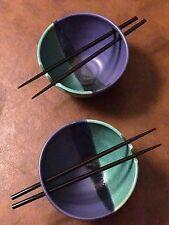 Signed Porcelain Studio Art Rice Bowls And Chopsticks