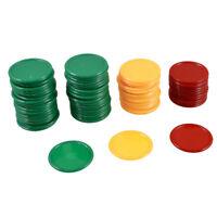 68Pcs Chips Game Tokens Plastic Tricolor Mini Poker Chips Game Tokens Chips DT