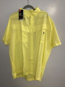 UNDER ARMOUR Button Front Shirt Mens 3XL Yellow Tide Chaser NWT