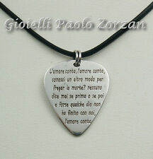 """Pendente a forma di plettro in argento 925  canzone """" L'amore conta"""" Ligabue"""
