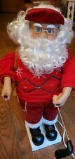 "Vtg 24"" Motionettes Christmas Santa Golfing Works, Needs TLC, Plug In Sweater"