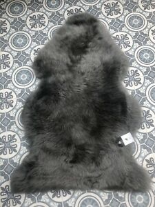 Fluffy Grey Genuine Sheepskin Rug Eco Pelt Throw