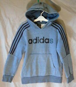 Boys Adidas Grey Black Logo Front Overhead Hooded Sweater Hoodie Age 9-10 Years