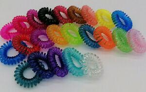 10x 20x 30x Haargummi Haarband Telefonkabel Spirale schwarz bunt elastisch Damen