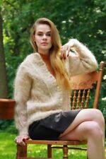THICK SOFT MOHAIR/WOOL HAND KNIT CARDIGAN