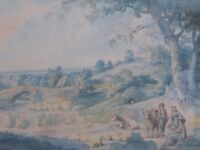 WATERCOLOUR ENGLISH LANDSCAPE AFTER GEORGE  MOORLAND 1760 FREE SHIPPING ENGLAND