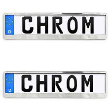 2x Kennzeichenhalter in Chrom Kennzeichen Nummernschild Halter EUROCLIP EU Norm