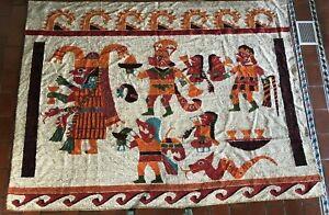 Vintage Maya Inca Aztec Andean ? Very Large Tapestry 9' x 7' Large ?