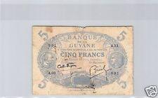 BANQUE DE LA GUYANE 5 FRANCS ND (1939) ALPHABET A.33 PICK 1 c !!!