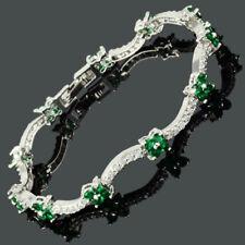 Round Flower Birthstone Green Emerald 18K White Gold Plated Tennis Bracelet