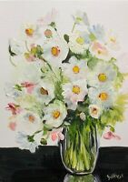 print of original oil painting Vase of cosmos Contemporary art floral home decor