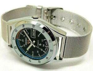 seiko 5 automatic men's steel black dial vintage day/date vintage japan watch