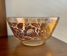 george briard Signed Large Clear Glass And Gold Floral Salad Serving Bowl
