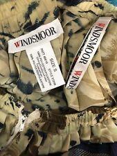 Taille 10 vintage années 1980 permanent plissage WINDSMOOR moutarde noir élastique