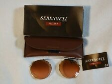 Serengeti Drivers Clip On Sunglasses DR-5508 Small Round Champagne Gold NOS