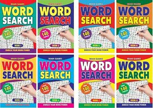 NEW A5 Size Word Search Puzzle Books 1-8    140 Puzzles per Book 2019