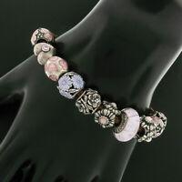 "PANDORA .925 Sterling Silver 6"" 12 Charm Pink Flower & Heart On Leather Bracelet"