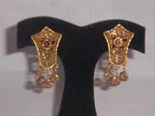 Goldette Gold with Amber Crystals Earrings Screw Back Clip combo Vintage