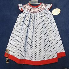 Will'beth bishop dress size 18 mo.Red light blue w/navy polka dots new w/tags
