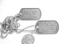 MILITARY DOG TAGS STAINLESS STEEL GENUINE