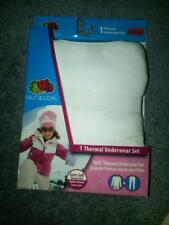 NWT GIRLS 2-PC THERMAL UNDERWEAR SET WHITE FRUIT OF THE LOOM SMALL 6/6X