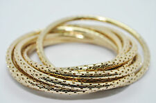 JULES SMITH 14k Yellow Gold Perforated Bangle Bracelet Jewelry Set of 8 NEW $110