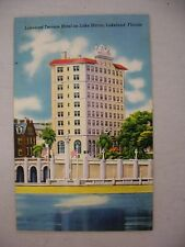 VINTAGE LINEN POSTCARD OF LAKELAND TERRACE HOTEL ON LAKE MIRROR IN LAKELAND, FL