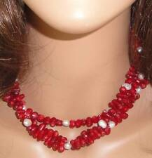Signed Vintage Red Coral & Freshwater Pearl Layered Necklace by Kenneth J. Lane