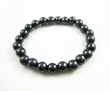 Black Magnetic Hematite 8mm Round Ball Beads Stretch Elastic Bracelet