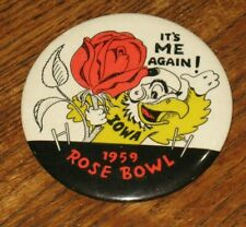 Vintage 1959 University of Iowa Hawkeyes Football Rose Bowl Button Pin Badge