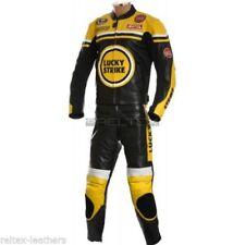 Tute in pelle e altri tessuti rossi in pelle bovina con zip completa per motociclista