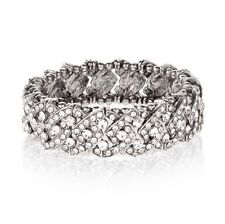 NWT ACCESSORIZE Clear Crystal Casted Stone Silver-Tone Stretch Bracelet.
