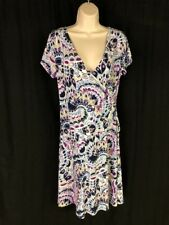 JM Collection Geometric Blue Multi Faux Wrap Short Sleeve Dress Size S EUC