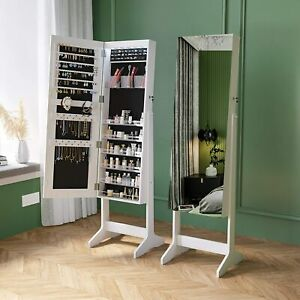 Jewelry Storage Stand Dressing Mirror Cabinet LED Floor type Lockable White
