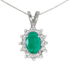 10k White Gold Oval Emerald And Diamond Pendant (Chain NOT included)