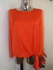 GALLERY CORAL LONG SLEEVE KNOT FRONT TOP SIZE 12 LADIES BNWT