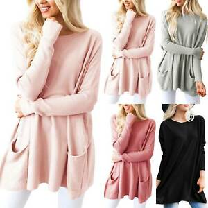 Plus Size Womens Long Batwing Sleeve Pullover Knitted Sweater Casual Tops Jumper