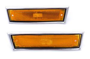 Set Side Marker Lights w/ Chrome Bezel For GMC C1500, C2500, & More
