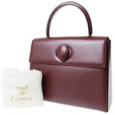 Must de Cartier Logos Hand Bag Bordeaux Leather Vintage Italy Authentic 8855 M