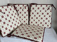 A SHAPE DINING CHAIR SEAT PADS SET OF 4 SHABBY CHICK MODERN DAISY WINE 15x15""